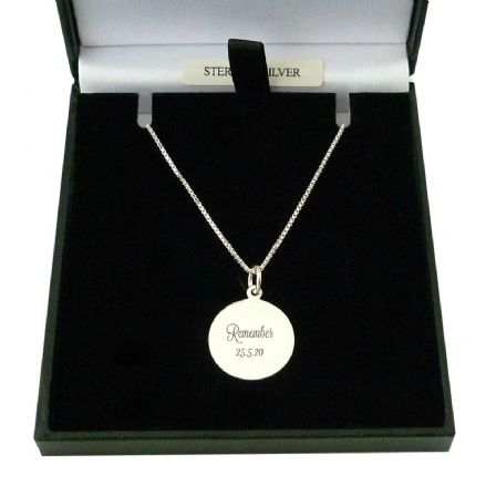 Engraved Disc Pendant Necklace, 925 Sterling Silver